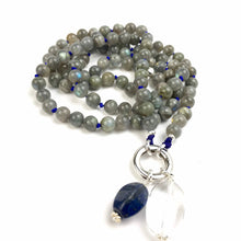 Load image into Gallery viewer, POSITIVE CHANGE Labradorite Mala Bead Necklace. Buddhist Prayer Beads. Meditation Gifts. 108 Japa Mala.