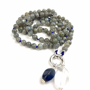 POSITIVE CHANGE Labradorite Mala Bead Necklace. Buddhist Prayer Beads. Meditation Gifts. 108 Japa Mala.