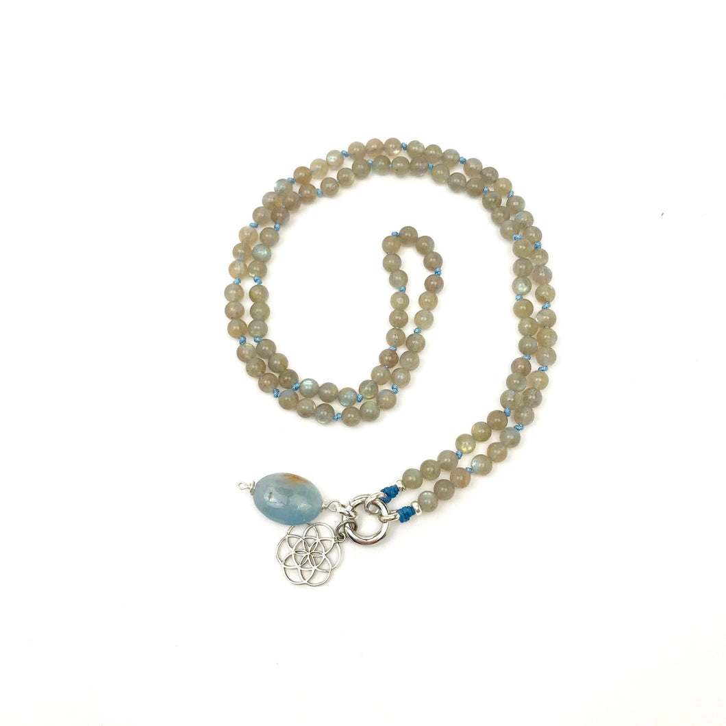 This special Intention Mala necklace was created with beautiful 6mm Labradorite gemstones. This mala comes with a Crystal Quartz Charm like the one in the photos (the other charms are for show only and can be purchase separately).