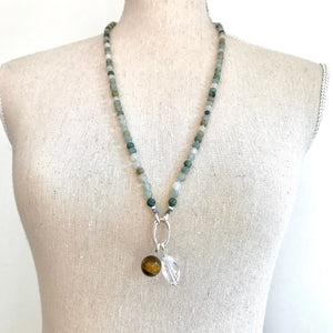 This special Intention Mala necklace was created with beautiful 6mm Green Moss Agate gemstones. This mala comes with a Crystal Quartz Charm like the one in the photos (the other charms are for show only and can be purchase separately).