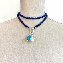 Load image into Gallery viewer, This special Intention Mala necklace was created with beautiful 6mm Lapis Lazuli gemstones. This mala comes with a Crystal Quartz Charm like the one in the photos (the other charms are for show only and can be purchase separately).