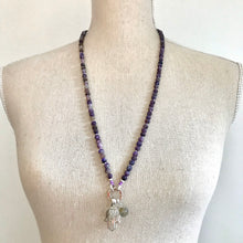 Load image into Gallery viewer, This special Intention Mala necklace was created with beautiful 6mm Charoite gemstones. This mala comes with a Crystal Quartz Charm like the one