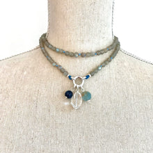 Load image into Gallery viewer, This special Intention Mala necklace was created with beautiful 6mm Labradorite gemstones. This mala comes with a Crystal Quartz Charm like the one in the photos (the other charms are for show only and can be purchase separately).