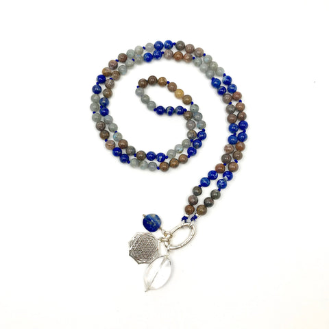 TRUTH MALA Pietersite, Lapis and Labradorite 108 Mala Beads Necklace, Japa Mala Beads, Prayer Necklace, Yoga Necklace Buddha, Wife Gift