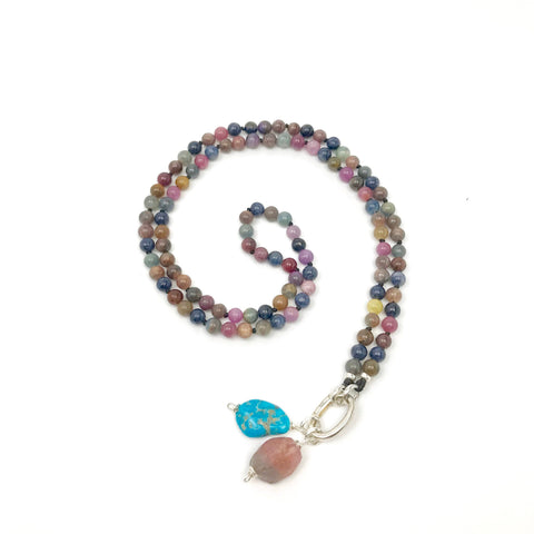 Natural Multi Color Sapphire Gemstone Necklace, Mala Beaded Necklace, Crystal Necklace, Sapphire Japa Mala, Prayer Beads, Yoga Necklace