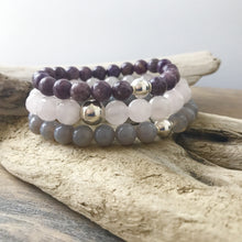 Load image into Gallery viewer, This listing is for a Mala Stack and it includes 3 beautiful bracelets: the Grey agate beads 8mm, Lepidolite beads 8mm, and Faceted Rose Quartz beads 10mm. These are .925 Sterling Silver beads with the best quality stretch cord.