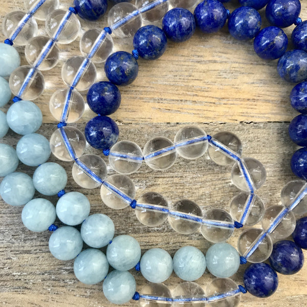 Aquamarine and Lapis Lazuli Mala Necklace