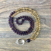 Load image into Gallery viewer, This Mala necklace features amethyst and citrine plus the guru bead which is made with a large round amethyst bead, a large and smooth crystal quartz stone all hand wired with .925 Sterling Silver.