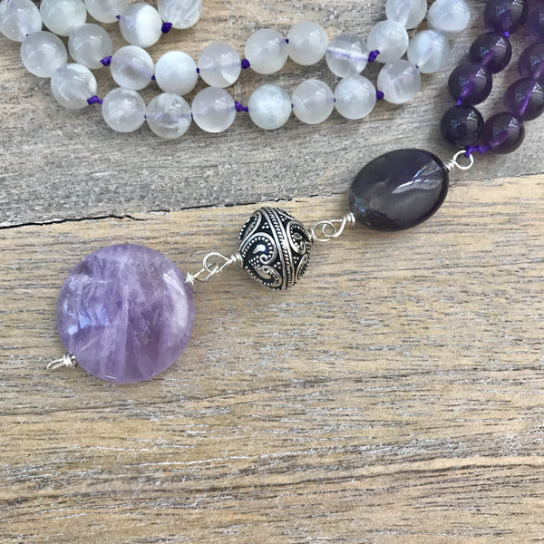 Moonstone and Amethyst Mala