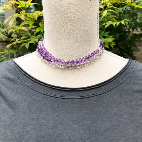Amethyst and Silver Wrap Necklace ~ N98