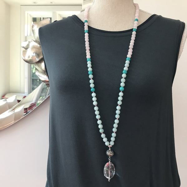 Amazonite and Rose Quartz Mala