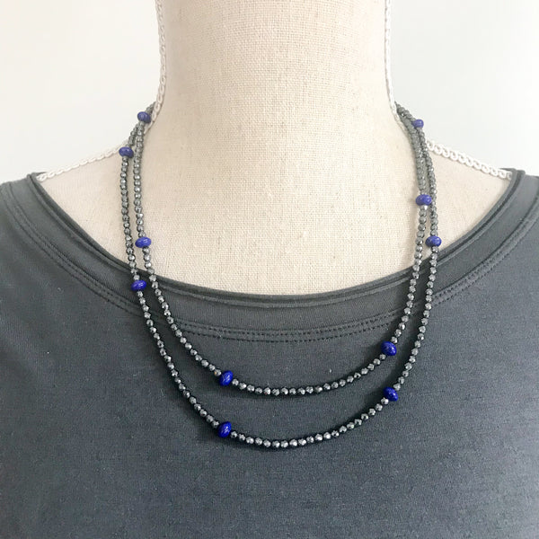 Small Hematite and Lapis Lazuli Wrap Necklace