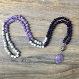 Amethyst and Howlite 108 Mala Beads