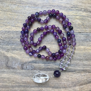 Purple Agate Mala Beads