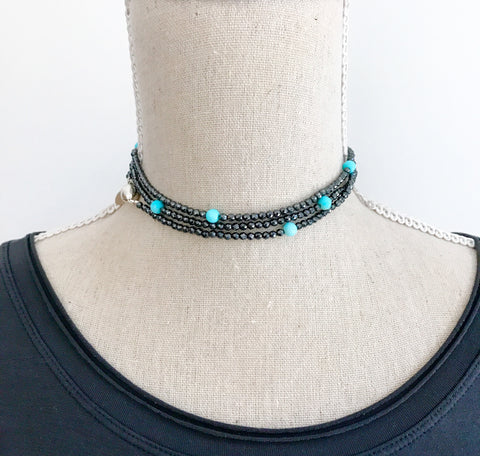 Small Hematite and turquoise Wrap Necklace