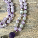 Lavender Amethyst and Moonstone Mala