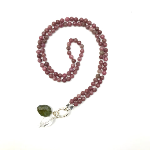 At Peace ~ Lepidolite Intention Mala Necklace