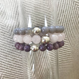 I am Love Bracelet Stack | Rose Quartz, Lepidolite and Grey Agate Stretch Bracelets