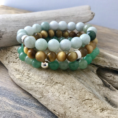 Abundance Bracelet Stack | Green Jade, Yellow Tiger Eye and Aventurine Stretch Bracelets