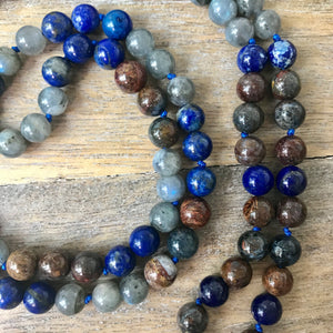 TRUTH MALA ~ Pietersite, Lapis and Labradorite 108 Mala Necklace