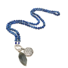 Load image into Gallery viewer, This special Intention Mala necklace was created with beautiful 6mm deep blue Kyanite gemstones. This mala comes with a Crystal Quartz Charm (the other charms are for show only and can be purchase separately).