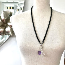 Load image into Gallery viewer, This mala necklace was created with beautiful 6mm Onyx beads. It comes with a Crystal Quartz charm like the one pictured (other charms are for show only and can be purchased separately).