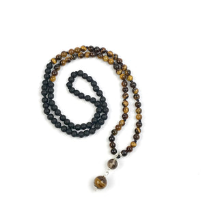 Mens Tiger Eye and Black Obsidian Mala Necklace