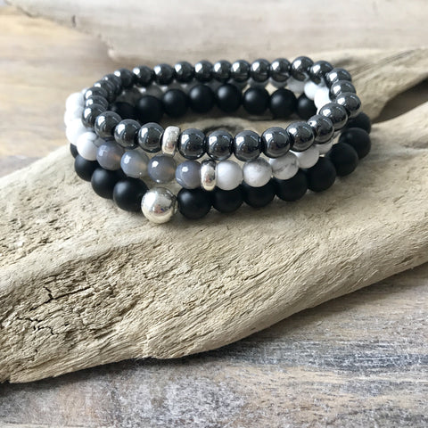 Calming and Grounding Bracelet Stack | Hematite, Howlite and Black Obsidian Stretch Bracelets