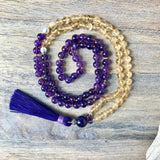 Amethyst and Citrine Tassel Mala Necklace
