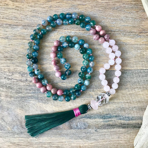 Green Moss Agate, Rhodonite and Rose Quartz Mala Necklace