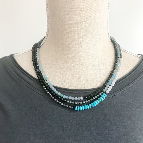 Blue Agate and Onyx ooak Wrap Necklace