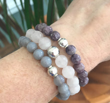Load image into Gallery viewer, This listing is for a Mala Stack and it includes 3 beautiful bracelets: Grey agate beads 8mm, Lepidolite beads 8mm, and Faceted Rose Quartz beads 10mm. These are .925 Sterling Silver beads with the best quality stretch cord