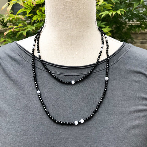 Black Onyx and Pearl Wrap Necklace ~ N106