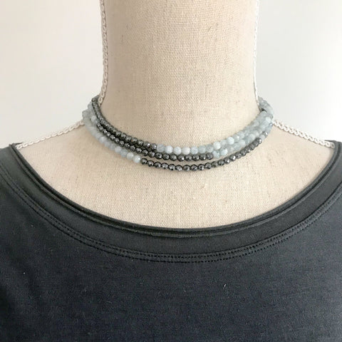 Hematite and Aquamarine Wrap Necklace