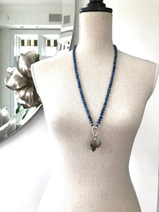 This special Intention Mala necklace was created with beautiful 6mm deep blue Kyanite gemstones. This mala comes with a Crystal Quartz Charm (the other charms are for show only and can be purchase separately).