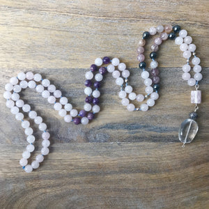 Rose Quartz and Strawberry Quartz Mala Beads