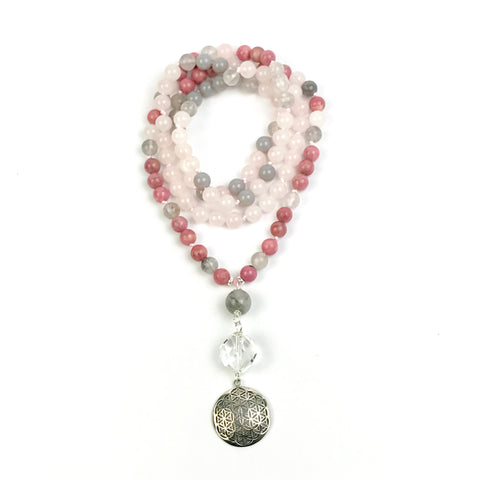 Rose Quartz, Grey Agate and Rhodonite Mala Necklace