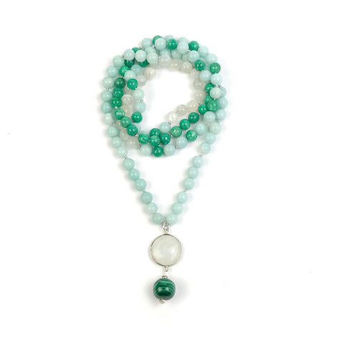 Amazonite and Moonstone Mala Necklace