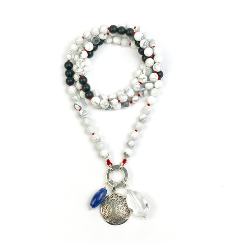 Howlite and Black Obsidian Intention Mala Necklace
