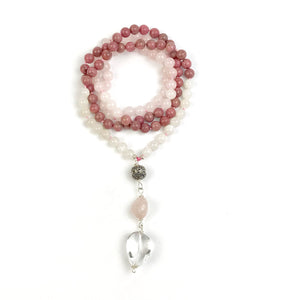 Rhodonite, Rose Quartz and Moonstone Mala Necklace