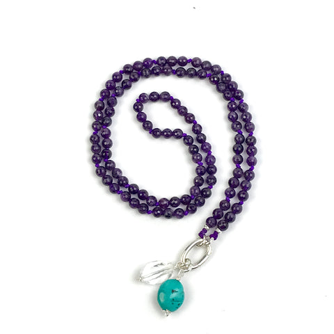 Faceted Amethyst Intention Mala Necklace