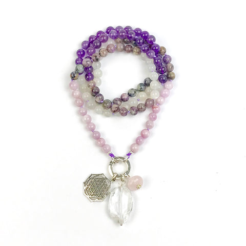 Kunzite and Charoite Intention Mala Necklace