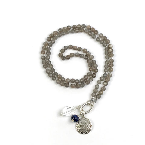 Grey Moonstone Intention Mala Necklace