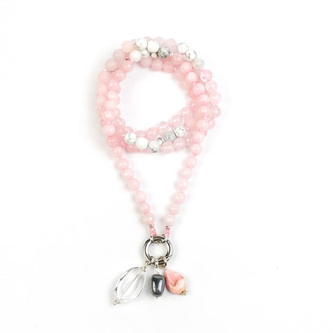 Rose Quartz and Howlite Intention Mala Necklace