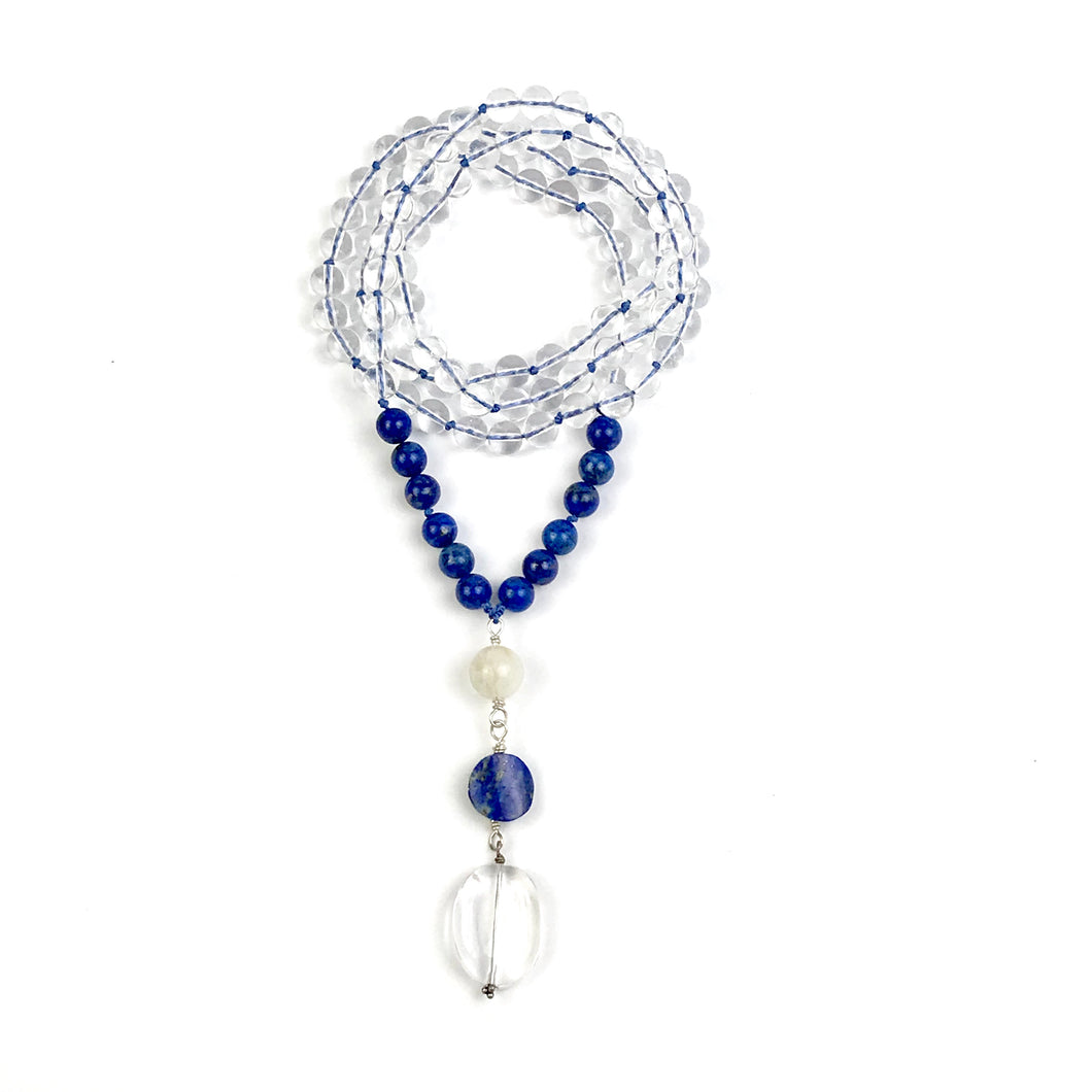 WISDOM Crystal and Lapis Mala Necklace