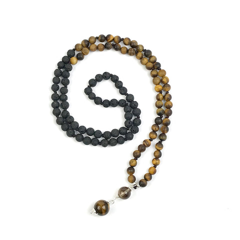 Men's Frosted Tiger Eye and Black Lava Mala Necklace