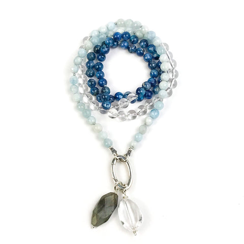 Kyanite and Aquamarine Intention Mala Necklace