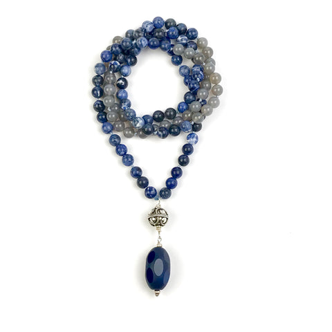 Sodalite and Grey Agate Mala Necklace