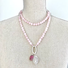 Load image into Gallery viewer, This mala necklace was created with beautiful 8mm polished and matte Rose Quartz beads and polished Crystal Quartz beads. It comes with a Crystal Quartz charm like the one pictured (other charms are for show only and can be purchased separately).