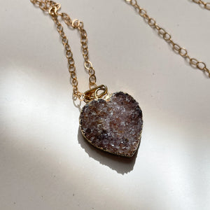 14KT Gold Filled Raw Amethyst Heart Necklace